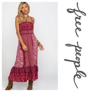 New Free People Women's Yesica Maxi Dress Cherry